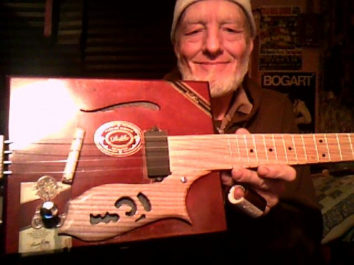 A four string from Donavan at Starr Cigar Box Guitars
