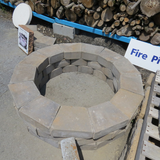 Above view: Circular fire pit surround.
