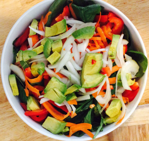Chopped vegetables with spinach