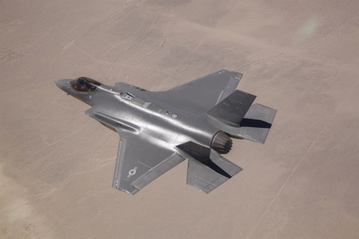 A F-35A (Air Force version) on a flight over the desert.