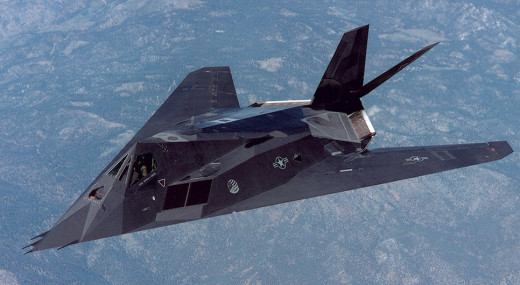 """The F-117A """"Nighthawk"""" Stealth Fighter is actually a bomber as it carries two GBU laser-guided bombs.  All F-117As have since been retired from U.S. Air Force active service."""