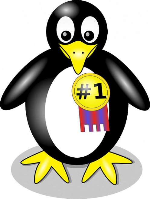 A penguin wearing a #1 Golden medal. Represents integrity.