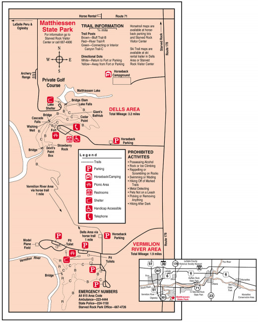Area map of Matthiessen State Park