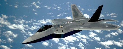 """F-22A """"Raptor.""""  The F-22 could carry six AMRAAMs and two AIM-9 """"Sidewinders"""" internally."""