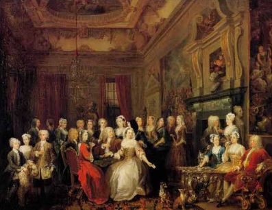 A Hogarth painting of an assembly at Wanstead House in the mid-18th Century, the immediate family is spread across the forefront of historical figures