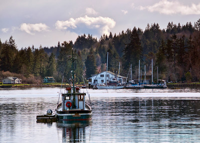 A small tugboat on a quiet morning with the Lakebay Marina in the background.