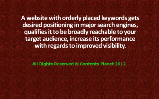 There is significant importance of orderly placed keywords in website content writing.