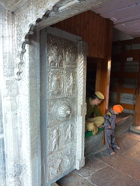 Silver panelling on the wooden gate of Bhima Kali Temple Sarahan