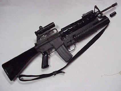 A modified version of the AR-15 aka civilian M-16