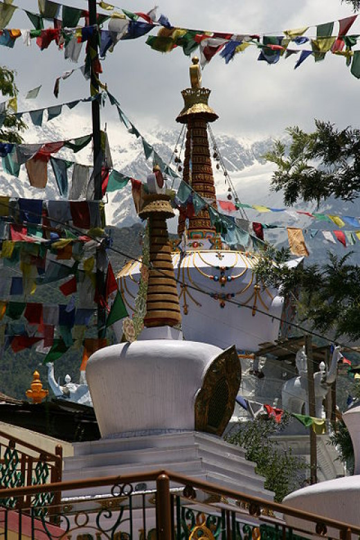 Tibetan Stupas below the Tsuglag Khang Temple in McLeod Ganj at Dharamsala