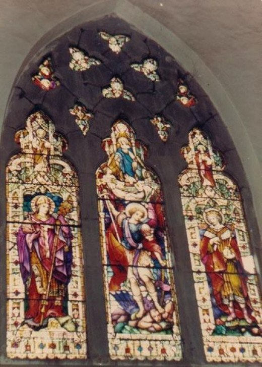 Stained Glass windows at St. Michael's Catholic Church Shimla