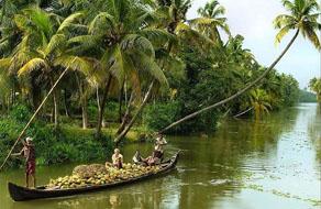 Boat on the river in Kerala