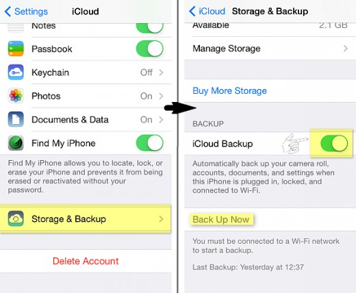 iCloud backup options on iPhone