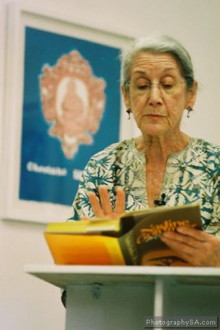 Gordimer giving a public reading of her award-winning novel, The Conservationist.