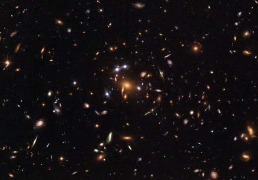 A galaxy cluster magnifying the light from a distant quasar