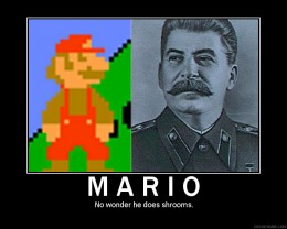 Eerie How Similar Mario and Stalin (the Soviet Dictator) Look. Combine This WIth That Red Star Flag and... Wow.
