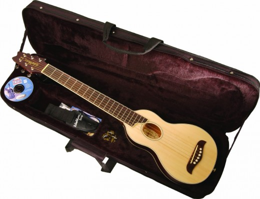 The Washburn Rover travel guitar comes with a sturdy case.
