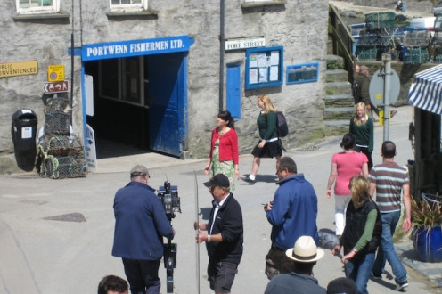 Filming the British TV series, Doc Martin, in Port Isaac, Cornwall, England.