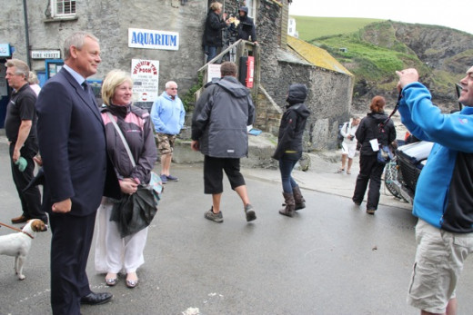 """Doc Martin"" with tourists in Port Isaac."