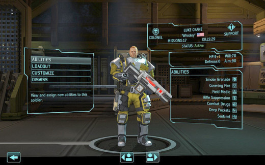 An Assault soldier armed with a laser gun, obtained through Researching.