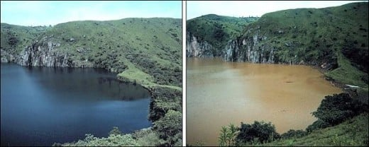 This is Lake Nyos before and after the 1986 eruption that killed everything within a fifteen mile radius