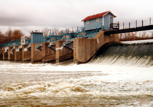 An example of a dam built across the Fox river in Wisconsin. This dam was built by the US Army Corps of Engineers. Dams like the one pictured above disrupt marine habitat as well as the habitat along the river banks.