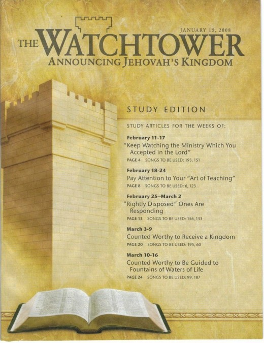 An edition of the Watchtower magazine, part of the Jehovah's Witness extensive literature