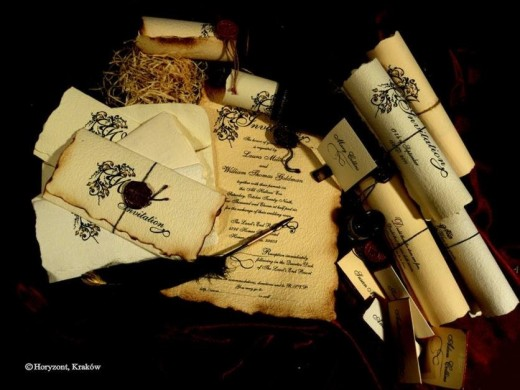 Old English Wedding Invitations and stationery from Horizon Team LTD