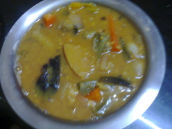"A South Indian vegetarian dish Kulambu or ""Kuzhambu recipe"""