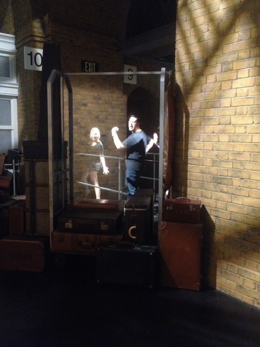 Fellow co-workers magically disappearing into Platform 9 3/4.