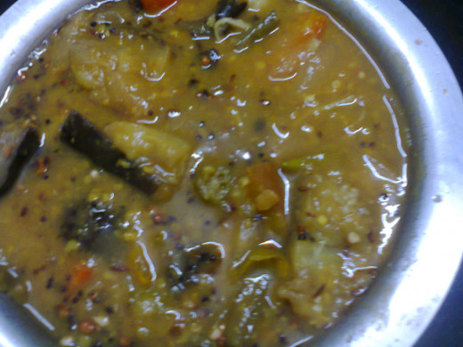 Kuzhambu recipe ready for serving