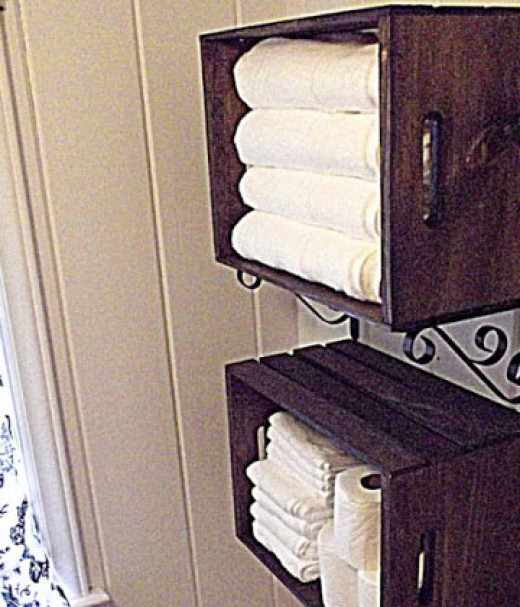 Wooden Crate Linen Storage   Easy Organization Ideas for the Home