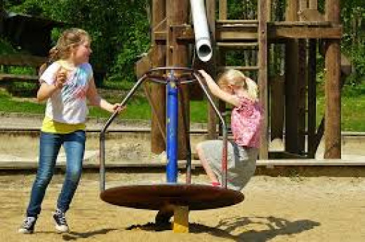 Children Playing Playground Children Carousel Child