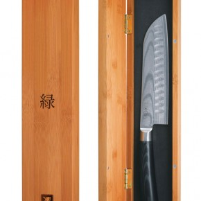 A Midori Santoku knife in its box