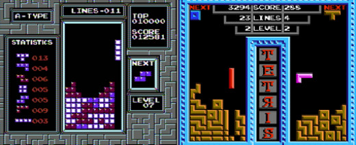 The Nintendo Version (Left) Was Visually More Impressive than the Tengen Version (Right), but the Tengen Game Had a Lot More Stuff Going on for It. The Cooperative Tetris Mode Was Awesome, and so Was Two Player Regular Tetris.