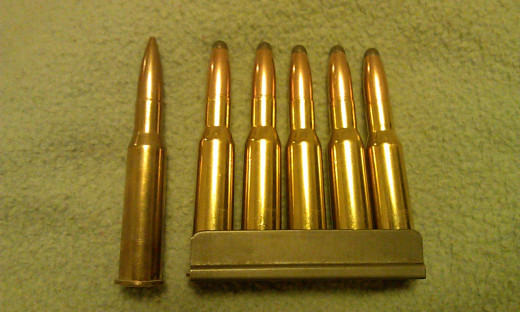7.62x54R 174gr. FMJ (Left) Stripper Clip of 7.62x54R 174gr. SP (Right)