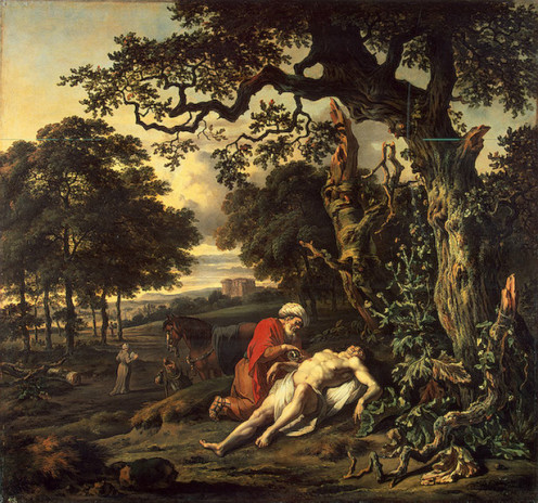 The Parable of the Good Samaritan by Jan Wijnants (1670) shows the Good Samaritan tending the injured man