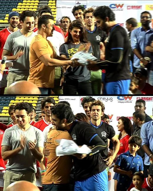 Abhishek Bachchan and Salman Khan exchanged pleasantries at a charity football event last night.
