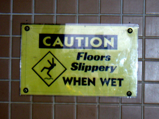 Slippery when wet sign, San Francisco public toilet, Golden Gate Bridge