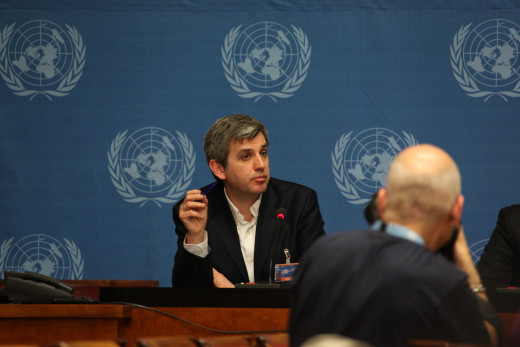 Google's Peter Barron speaking at a Press Conference in Geneva