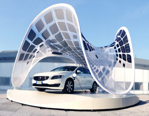 Futuristic Solar Garage with Electric Car