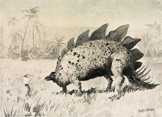 Adventurous characters in Conan Doyle's The Lost World discover a prehistoric Stegosaurus