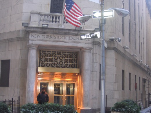 Wall Street,  north entrance of New York Stock Exchange