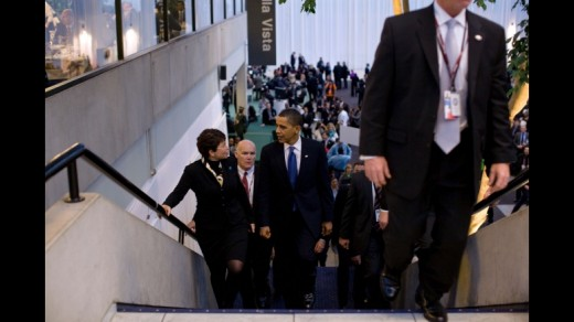 President Barack Obama walks during the  Climate Change Conference in Copenhagen.
