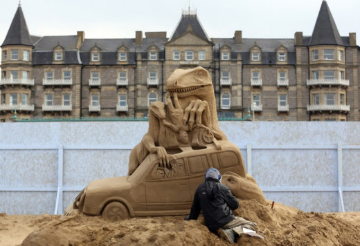 This sand sculpture was a part of the Weston-Super-Mare movie theme festival on the beach