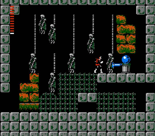 They got the atmosphere for Castlevania 2 right - in fact, those hanging skeletons are pretty riské  for the Nintendo era. But at the same time, you get pretty depressed finding out that there are basically no real bosses anywhere in the game.