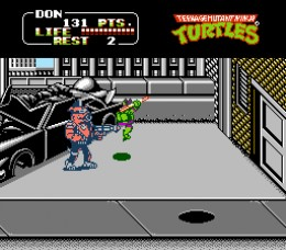 The boss battles were totally epic in TMNT 2 The Arcade Game. Man, just thinking about this game makes me want to play it on my Nintendo right now. I love it.