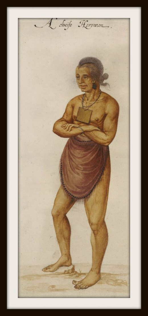 Portrait of an Indian Chief by the Governor of the Cittie of Raleigh, John White
