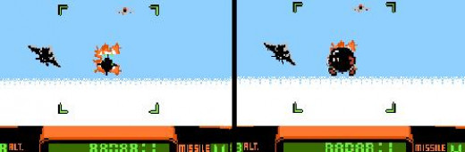 The missles kind of look like Bob-omb flying at you. These Missiles sure are slow, too. Shouldn't they fly at you super fast since they are rocketing towards you while you fly at them? Logic, you know?