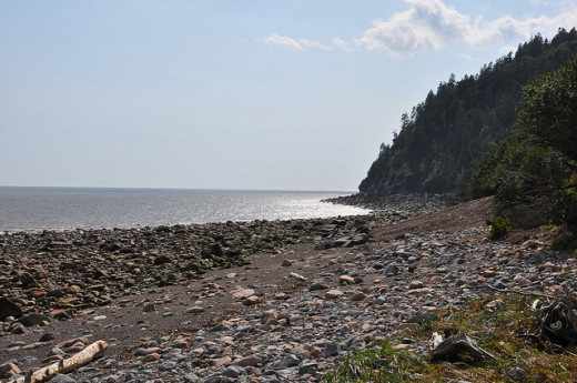 The Fundy Trail follows the coast line of the Bay of Fundy on the Atlantic Ocean.